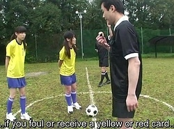 Subtitled ENF CMNF Japanese nudist soccer schooling game HD