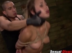 Bdsm slave acquires facial cumshot