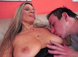 Boastfully titted granny fucks take stockings