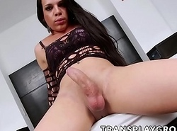 Curvaceous latin babe trannie Ariane de Briho plays more the brush heavy dig up