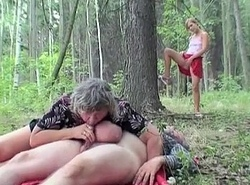 Busty granny having enjoyment forth the forest