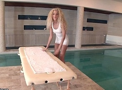 Monique Fatherland fucks on rub down table