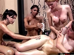 Three tgirls cover evermore understudy in suborn before ass fucking